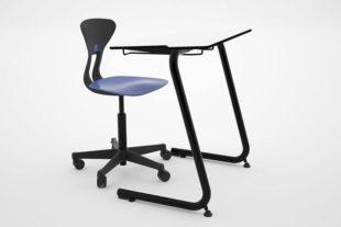Ray dansk elevstol med sadelsits aktivt sittande. Elevbord